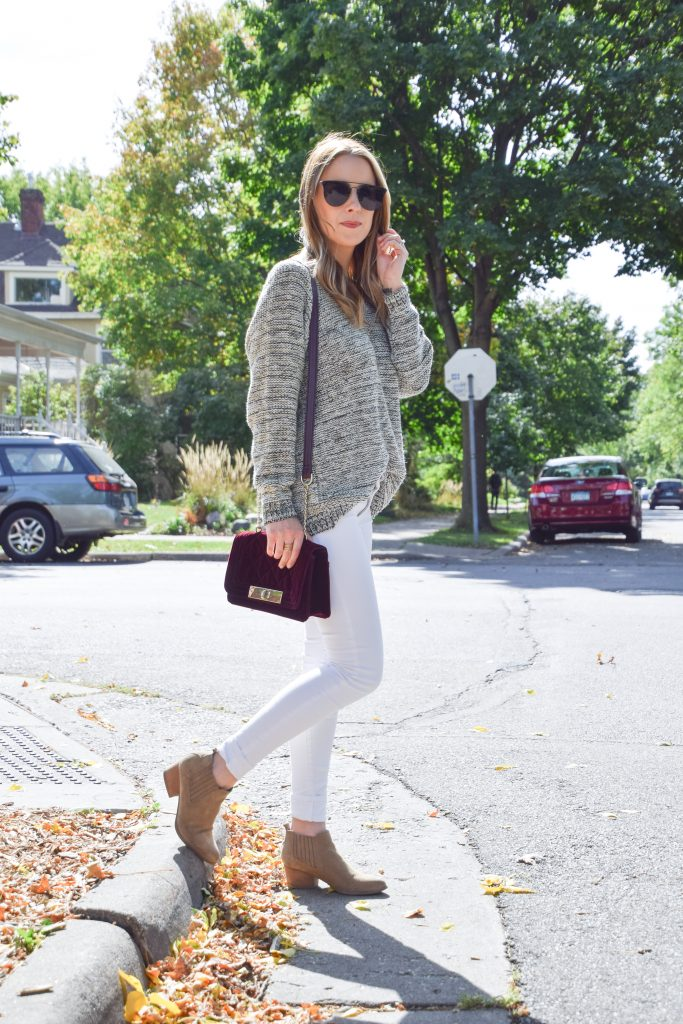 Neutral Fall Outfit, Fall Neutrals, Winter Whites, White after labor day, white pants, neutral fall look, off the shoulder, oversized sweater, velvet bag, white pants