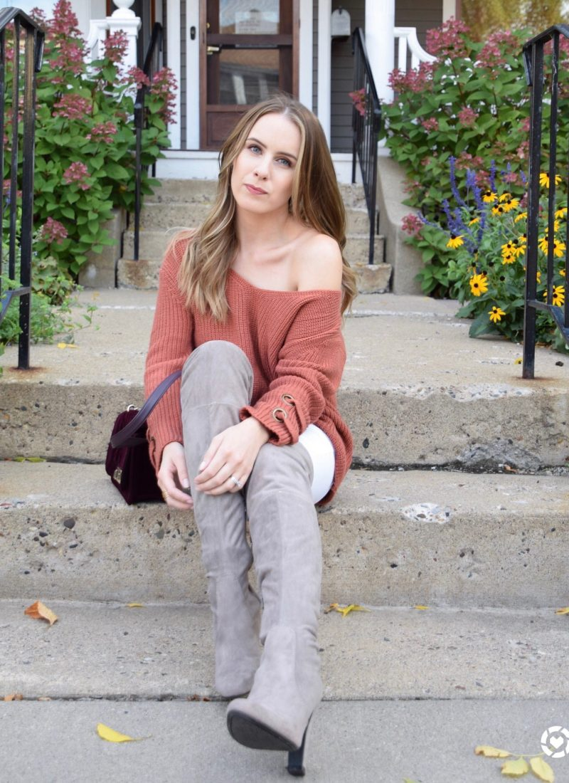 rust colored sweater, fall sweater, over the knee boots, OTK boots, fall style, velvet, velvet purse, like to know it, LTKit
