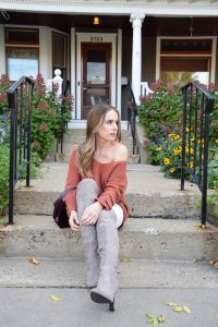 rust colored sweater, fall sweater, over the knee boots, OTK boots, fall style, velvet, velvet purse, like to know it, LTK it