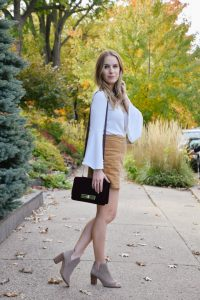 Style a Skirt for Cooler Weather, Skirt in Cool Weather, corduroy skirt, bell sleeves, skirt and long sleeved top, booties, cool weather fashion, fall fashion, winter fashion, lo meyer, sugarfix, velvet bag