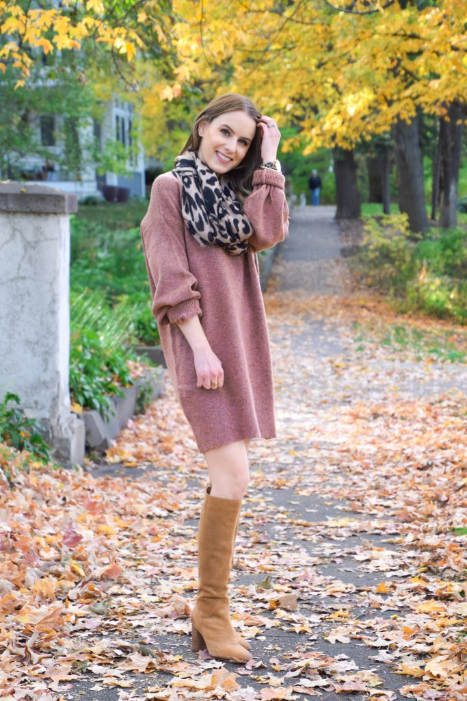 Topshop, Rose Sweater Dress, Sweater Dress, sam edelman, knee high boots, fall sweater, winter sweater, petite sweater dress, petite dress, petite sweater