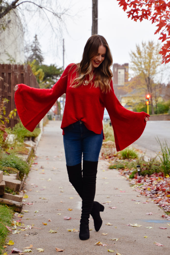 holiday outfit, lomeyer, thanksgiving outfit, thanksgiving outfits, bellsleeves, statement sleeves, red sweater, winter clothing, fall clothing, nordstrom, over the knee boots, OTK boots, black boots, suede boots, comfy chic
