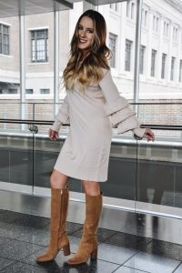 Fashion Blogger Lauren Meyer of the Lo Meyer Blog   Life with Lo discusses a dressy valentine's look, pastel colors and tiered sleeves