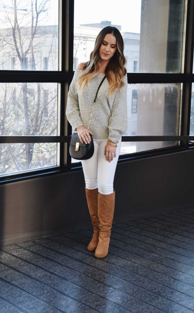 Fashion Blogger Lauren Meyer of the Lo Meyer Blog shares a Spring Off The Shoulder Sweater