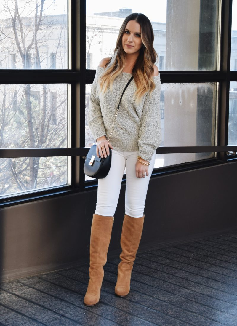 Fashion Blogger Lauren Meyer of the Lo Meyer Blog shares a Spring Off The Shoulder Sweater