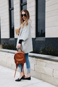 Fashion Blogger Lauren Meyer of the Lo Meyer Blog shares a Loft Grey Poncho Sweater perfect for Work or Weekend