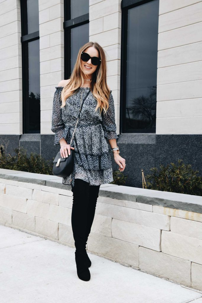 On OR Off the Shoulder Spring Transition Dress | Fashion Blogger Lauren Meyer of the Lo Meyer Blog shares the Best Spring Transition Dress for Work & The Weekend!
